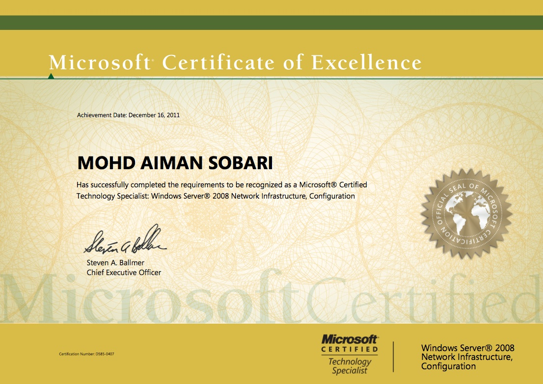 Microsoft certificate of excellence 1st blogs microsoft certificate of excellence xflitez Gallery