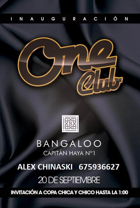 Bangaloo ONE CLUB Inauguración Viernes 20 de Septiembre