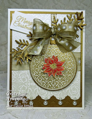 Our Daily Bread Designs, Vintage Pattern Mini 1 and Vintage Pattern Mini 2,  Antique Labels and Border die, Vintage Ornament  Poinsettia Wreath, Antique Labels and Border die, ODBD Custom Circles Ornament die, Poinsettia Wreath Die,Fancy Foliage Die, Recipe Card and Tags die