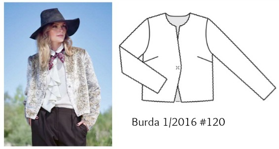 Burda 1/2016 #120 tailored yellow jacket www.loweryourpresserfoot.blogspot.com