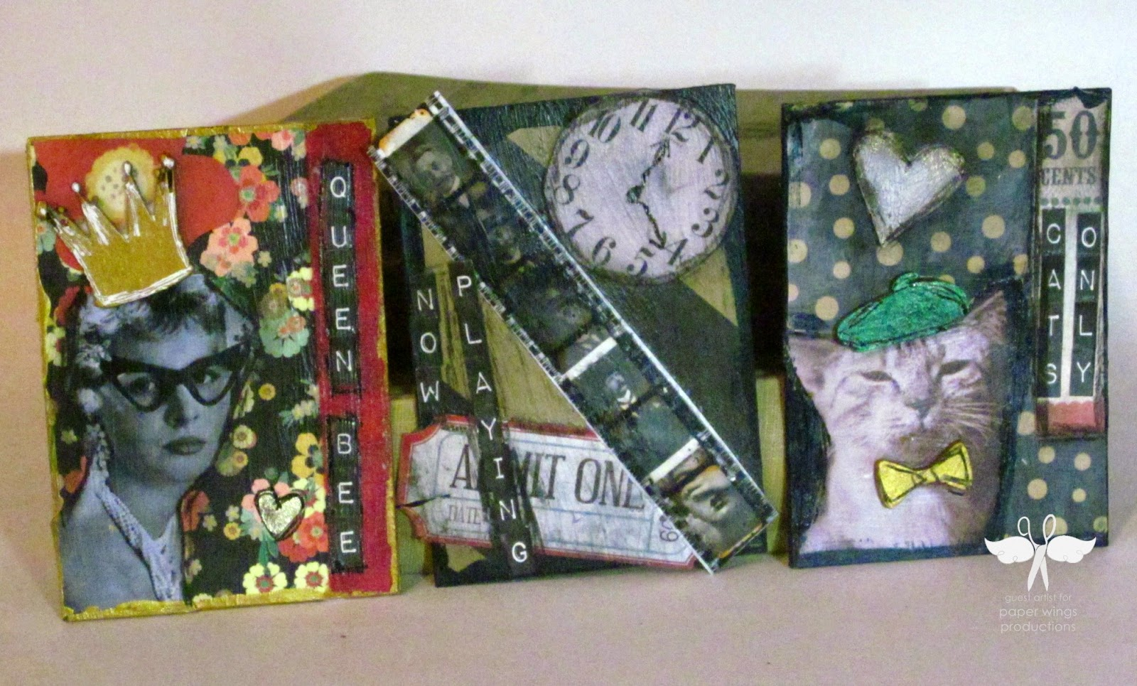 mixed media Monday with Paper Wings Productions, ATC cards created by www.serendipitystudiobycw.blogspot.com