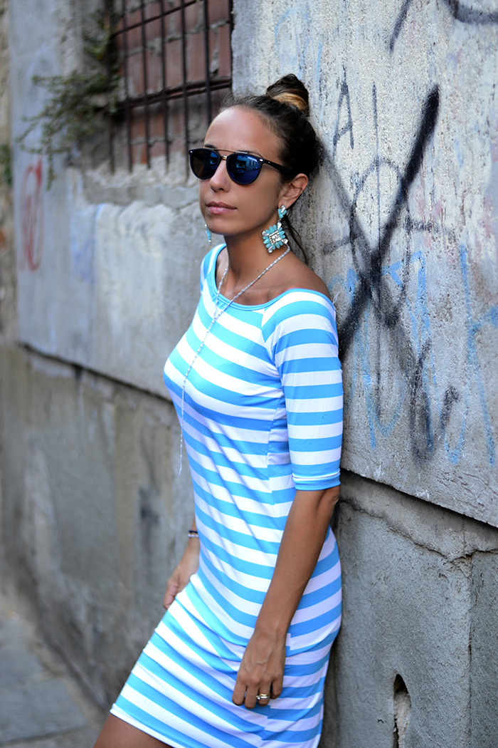 striped turquoise white dress
