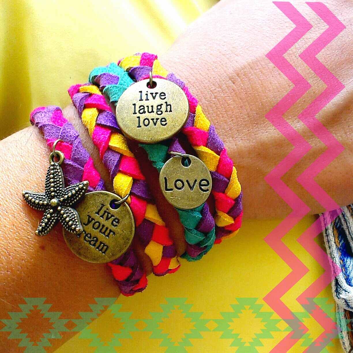 pulseras happy uky live laugh love live your drema