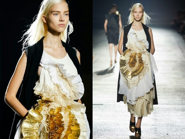 Dries van Noten 2014 SS Floral Pleats White Dress