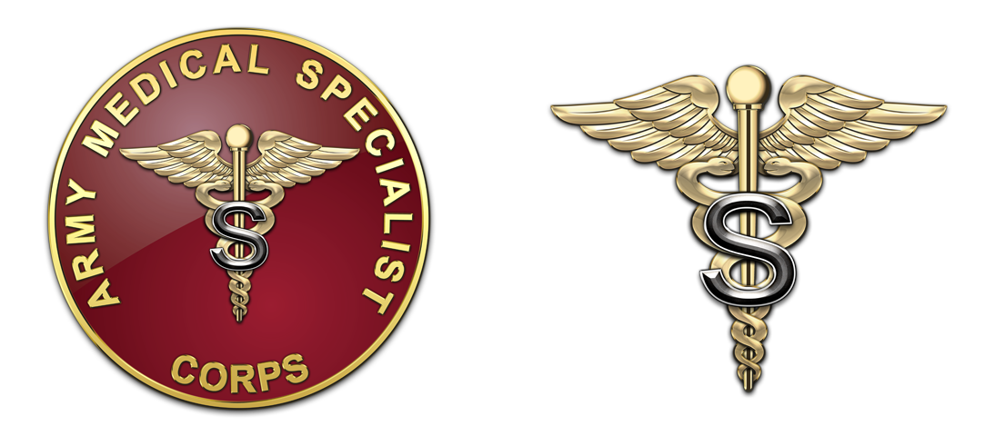 ARMY BRANCH OF SERVICE INSIGNIA MEDICAL SPECIALIST CORPS FULL COLOR PAIR