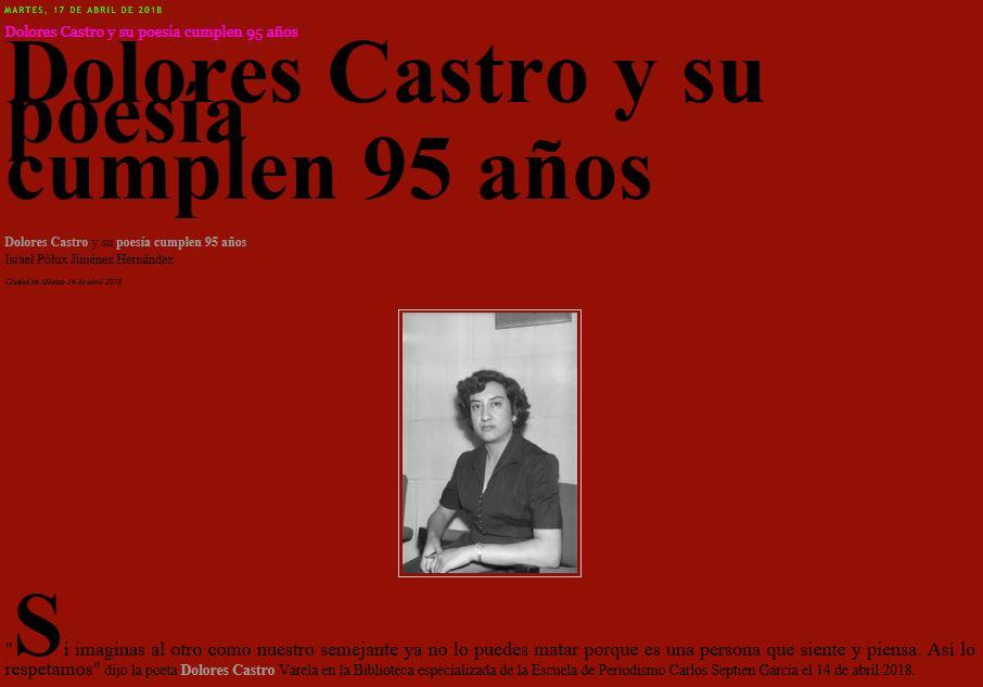 Dolores Castro y su poesía cumplen 95 años