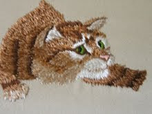 Embroidered Cat (with silk)