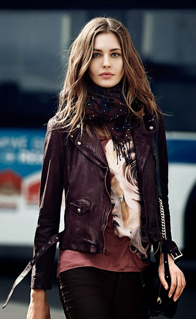 Black leather jacket scarf floral shirt with denim pants