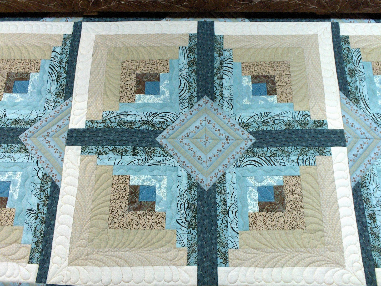 Superb img of Sunrise Quilt Studio: Log Cabin with #417A8A color and 1600x1200 pixels