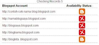 Hasil pencarian ketersediaan URL blogspot