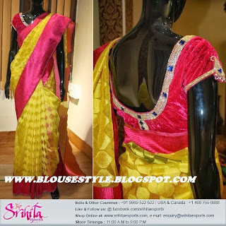 YELLOW SAREE WITH PINK BACK NECK DESIGNER BLOUSE