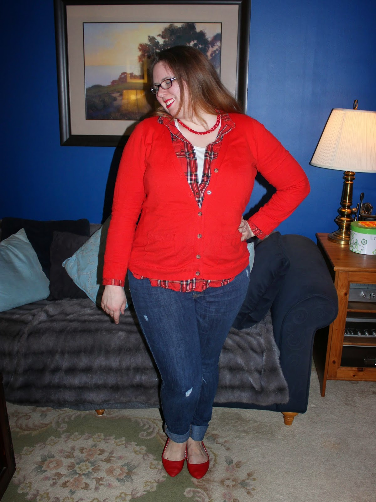 red cardigan, plaid button down, red flats, boyfriend jeans