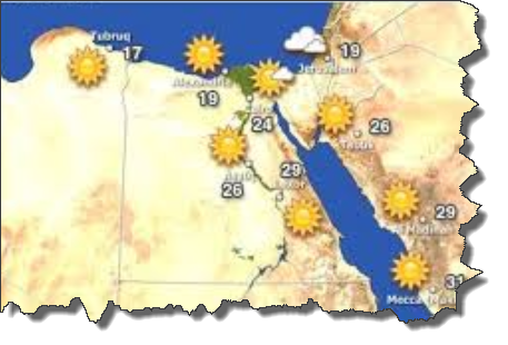 درجات الحرارة فى مصر ليوم الاثنين 12/1/2015