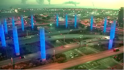 Pylons at LAX Lit Up in Blue in Honor of TSO Hernandez Photo Courtesy of United States Honor Flag