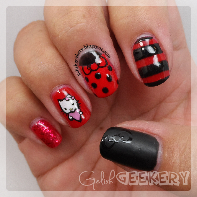 Gelish Hello Kitty Nails