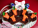 Kakaós muffin 'répával töltve', húsvéti sütemény recept, tejszín ízű pudinggal ízesítve.
