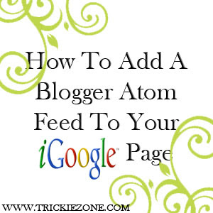 How To Add A Blogger Atom Feed To Your iGoogle Page