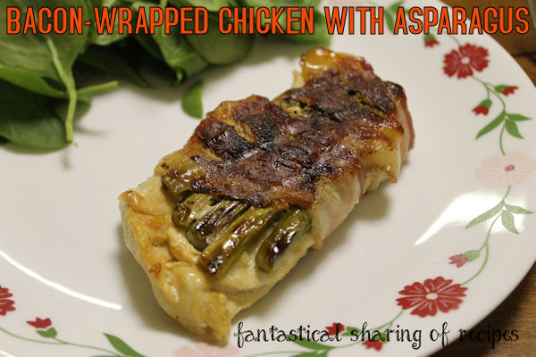 Bacon-Wrapped Chicken with Asparagus - grilled chicken with a garlic yogurt sauce and asparagus wrapped in #bacon #recipe
