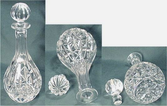 Block decanter and stopper in clear crystal