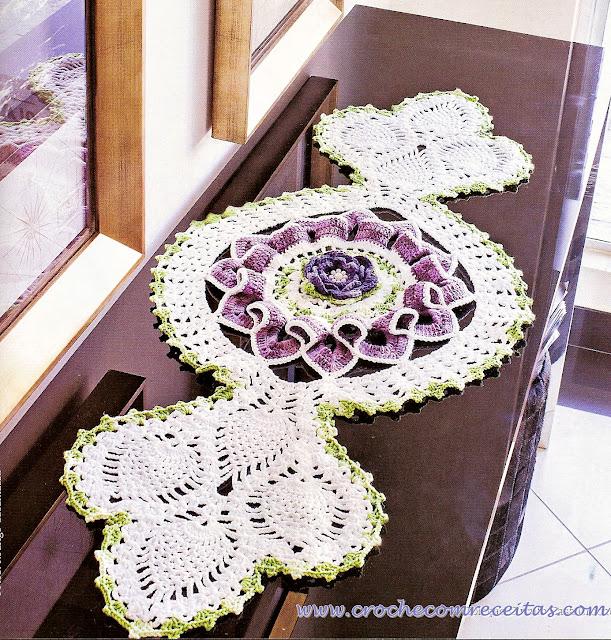 receitas com graficos de caminhos centros e toalhas de croche em croche com receitas
