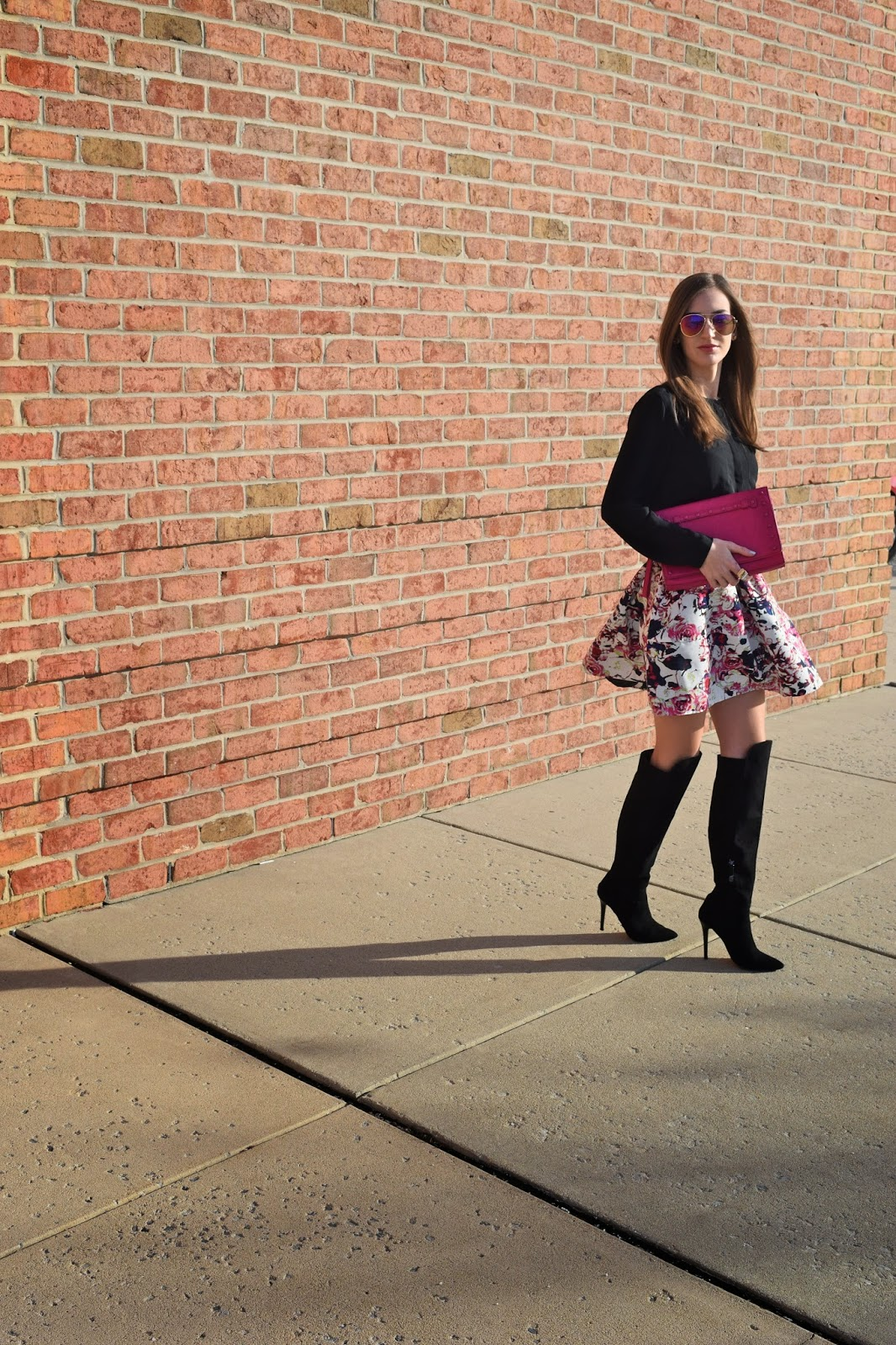 Wearing Winter Florals. Floral Skirt in Winter. Floral Skirt, Knee High Boots