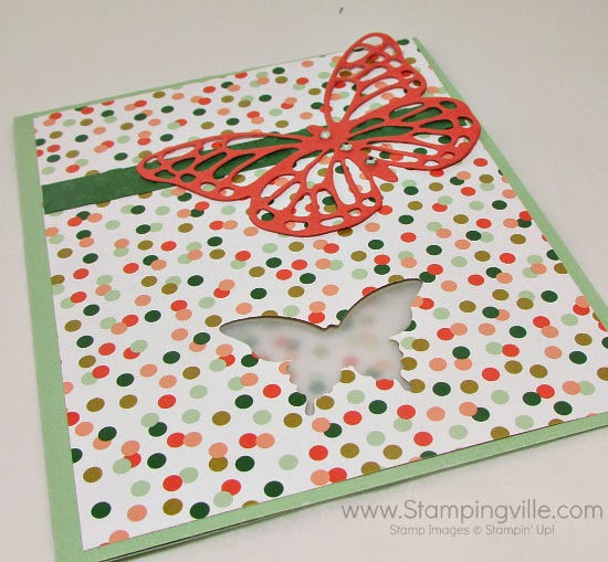 "Use matching or coordinating paper inside the card to peek through the ""window"". #cardmaking #papercrafts #StampinUp"