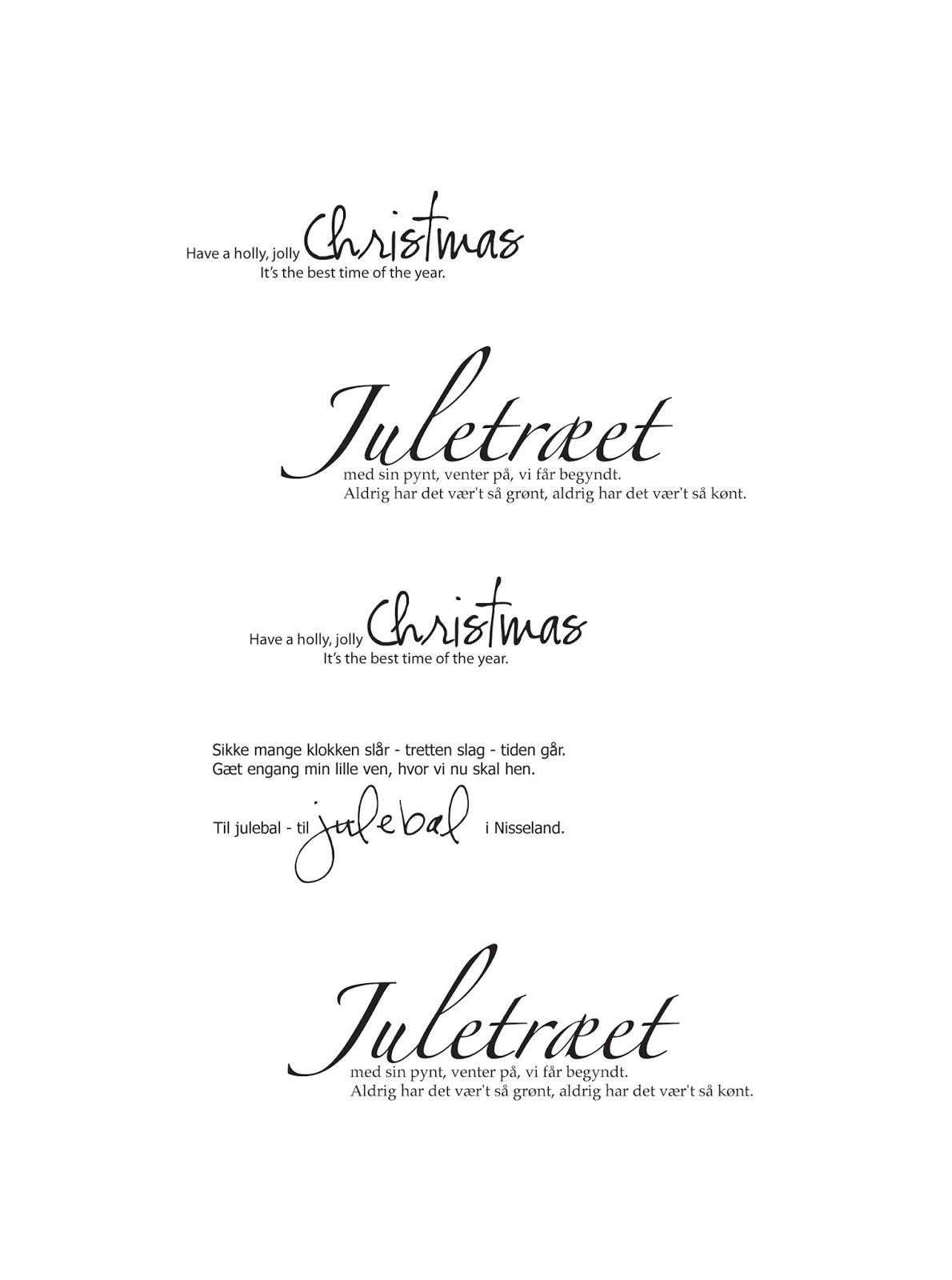 juletræet med sin pynt tekst