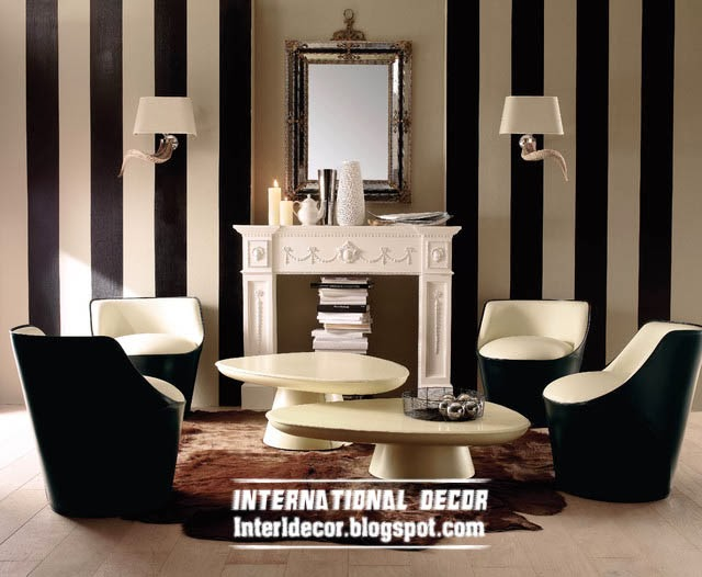 Black and white striped wallpaper in the interior