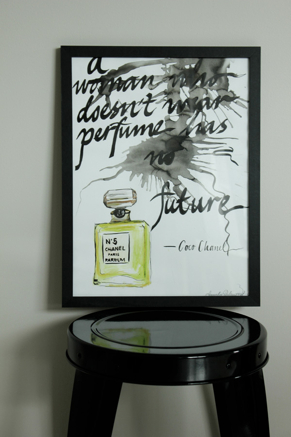 chanel illustration, chanel no 5 parfym, tavlor, akvarell, tavla med text, cool tavla, orginal illustration, tavlor säljes, handmålad tavla chanel, prints, illustrations, posters