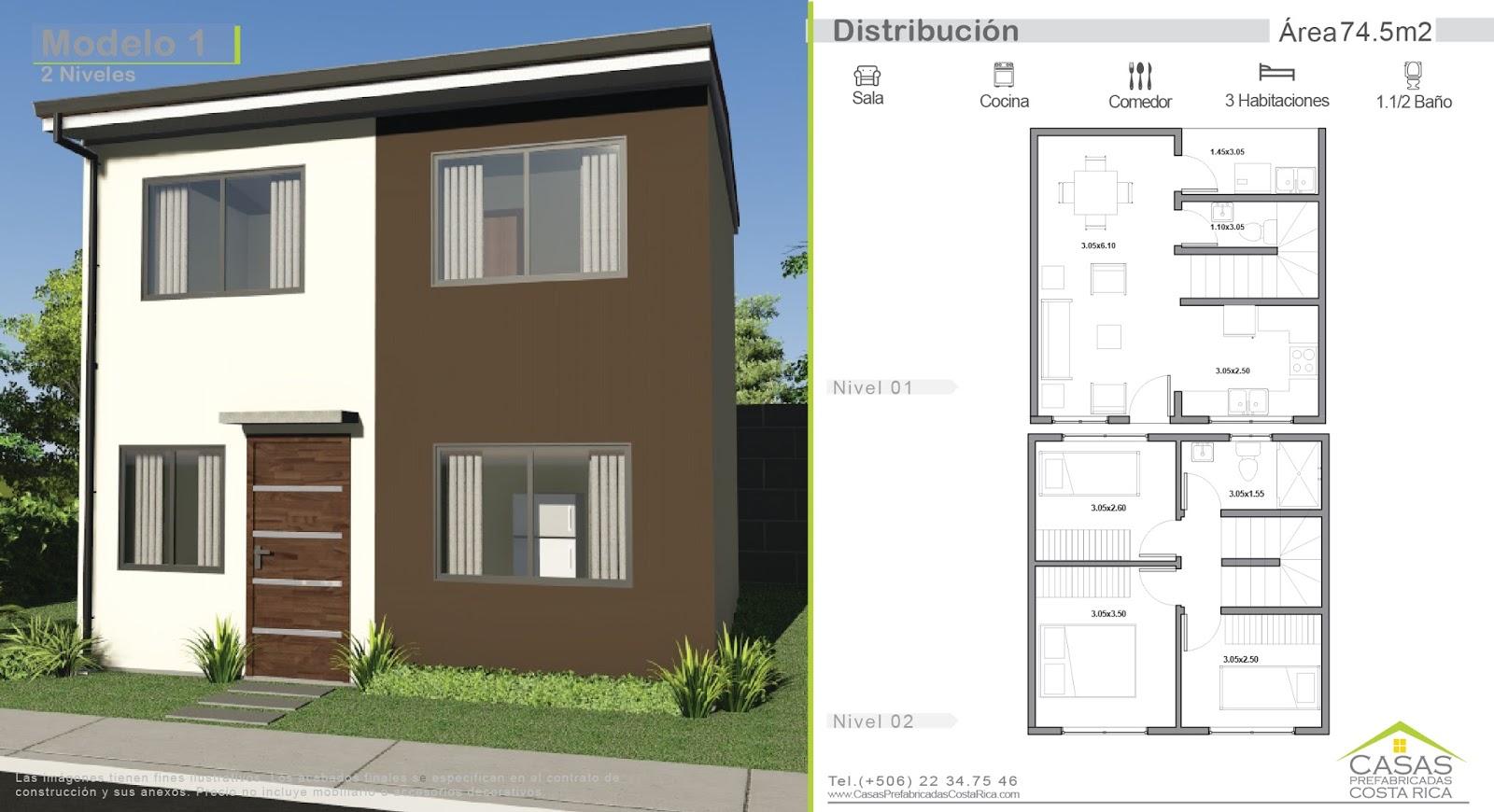 Casas prefabricadas costa rica casa modelo 1 de dos niveles - Casas sostenibles precios ...