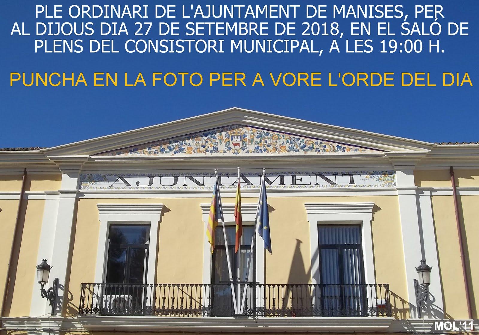 27.09.18 PLENO ORDINARIO DEL AYTO DE MANISES DEL MES DE SEPTIEMBRE