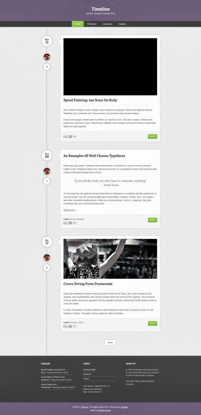 Timeline Blogger Template GBNe - Timeline blogger template