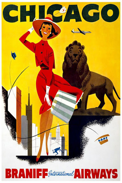 printables, classic posters, free download, graphic design, retro prints, travel, travel posters, vintage, vintage posters, Chicago, Braniff International Airways - Vintage Travel Poster