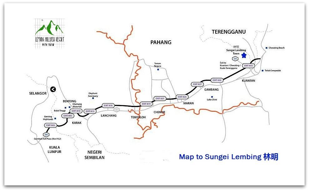 Map To Lembing Hillview Resort