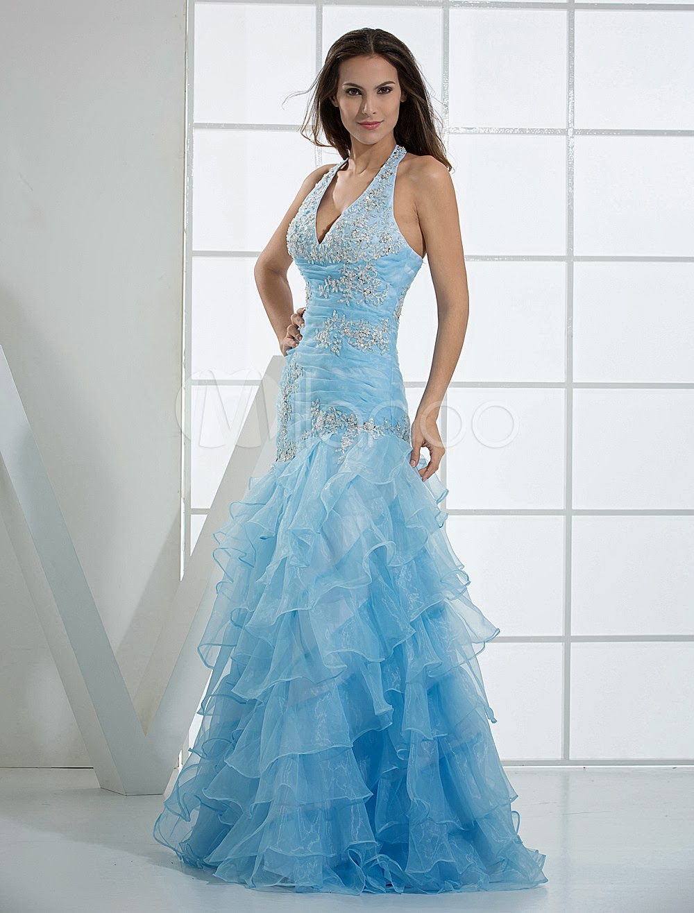 China Wholesale Dresses - Beautiful Halter Ruffles Paillette Satin Tulle Prom Dress
