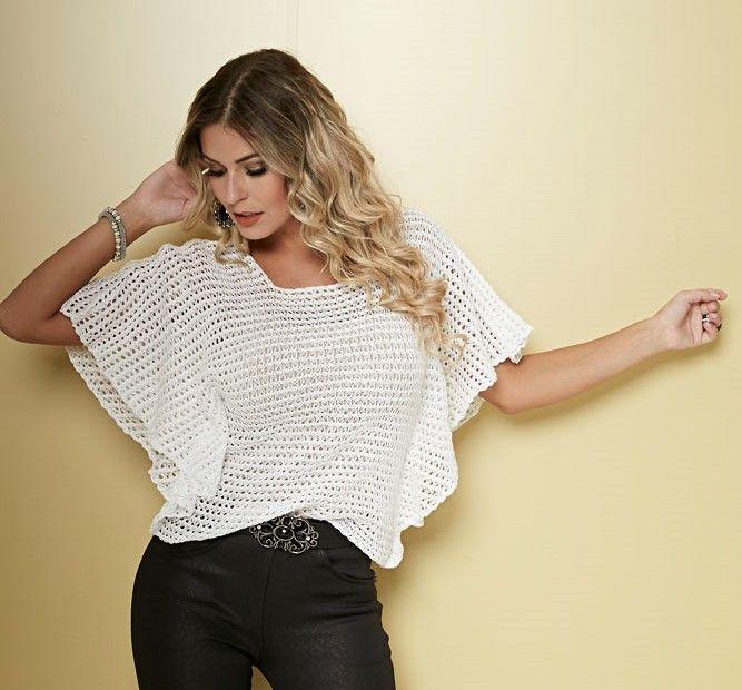 Patrón gratis: blusa con mangas de murciélago (también en crochet ...