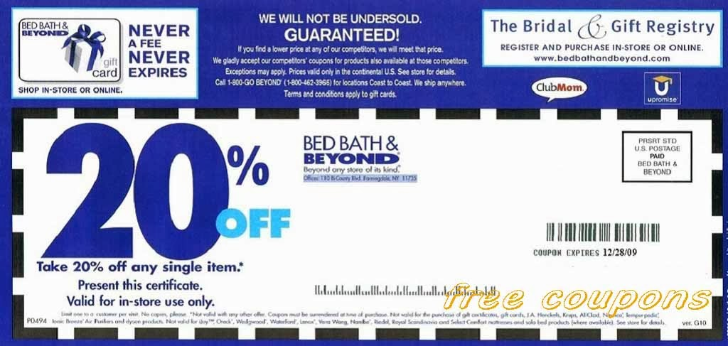 Bed Bath And Beyond Coupons Printable