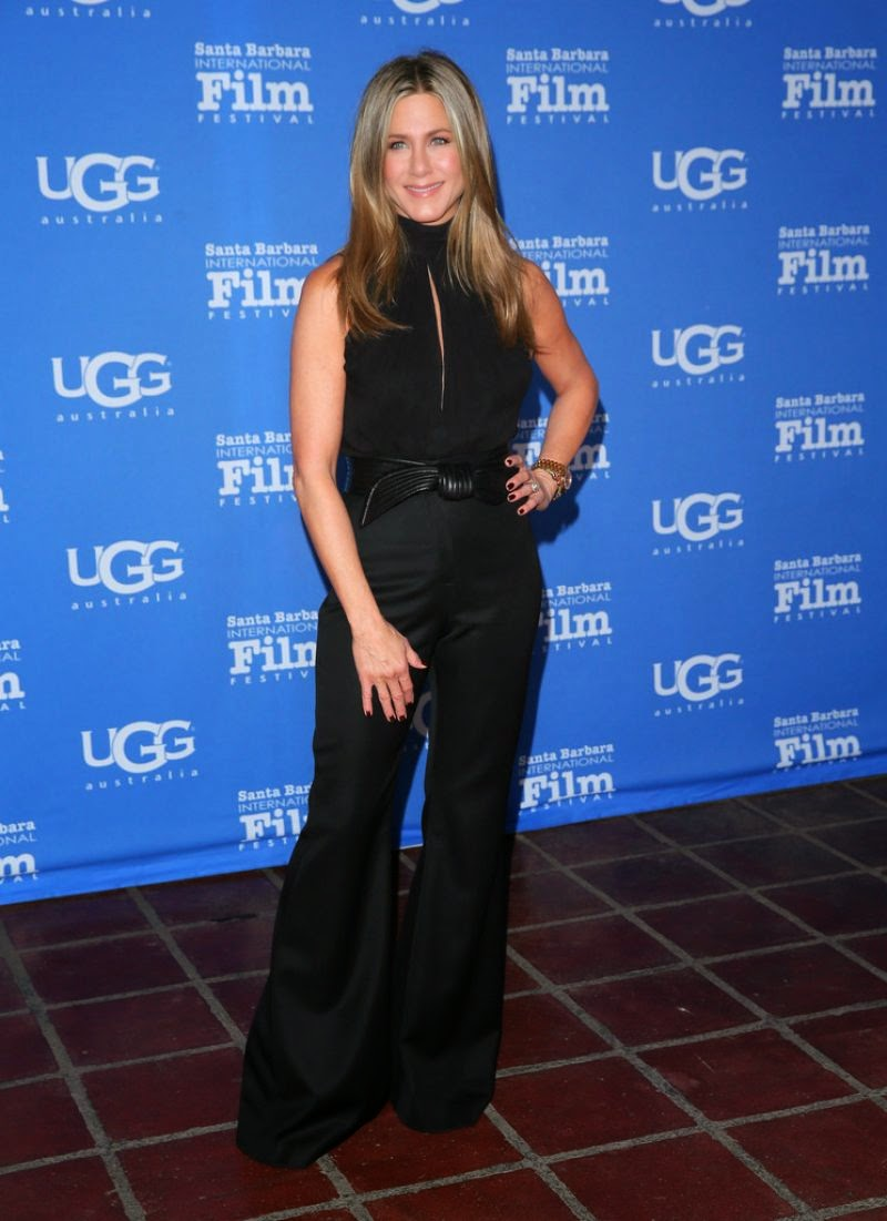 Jennifer Aniston in a black outfit at the 2015 Santa Barbara International Film Festival
