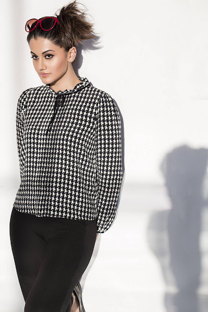 Actress Taapsee Pannu Latest Photoshoot Stills in Black and White Checks Top