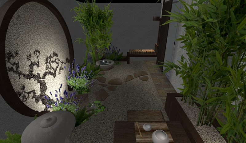 hermoso jardin pequeño oriental en patio con bambu, fuente, banca y mesa de te