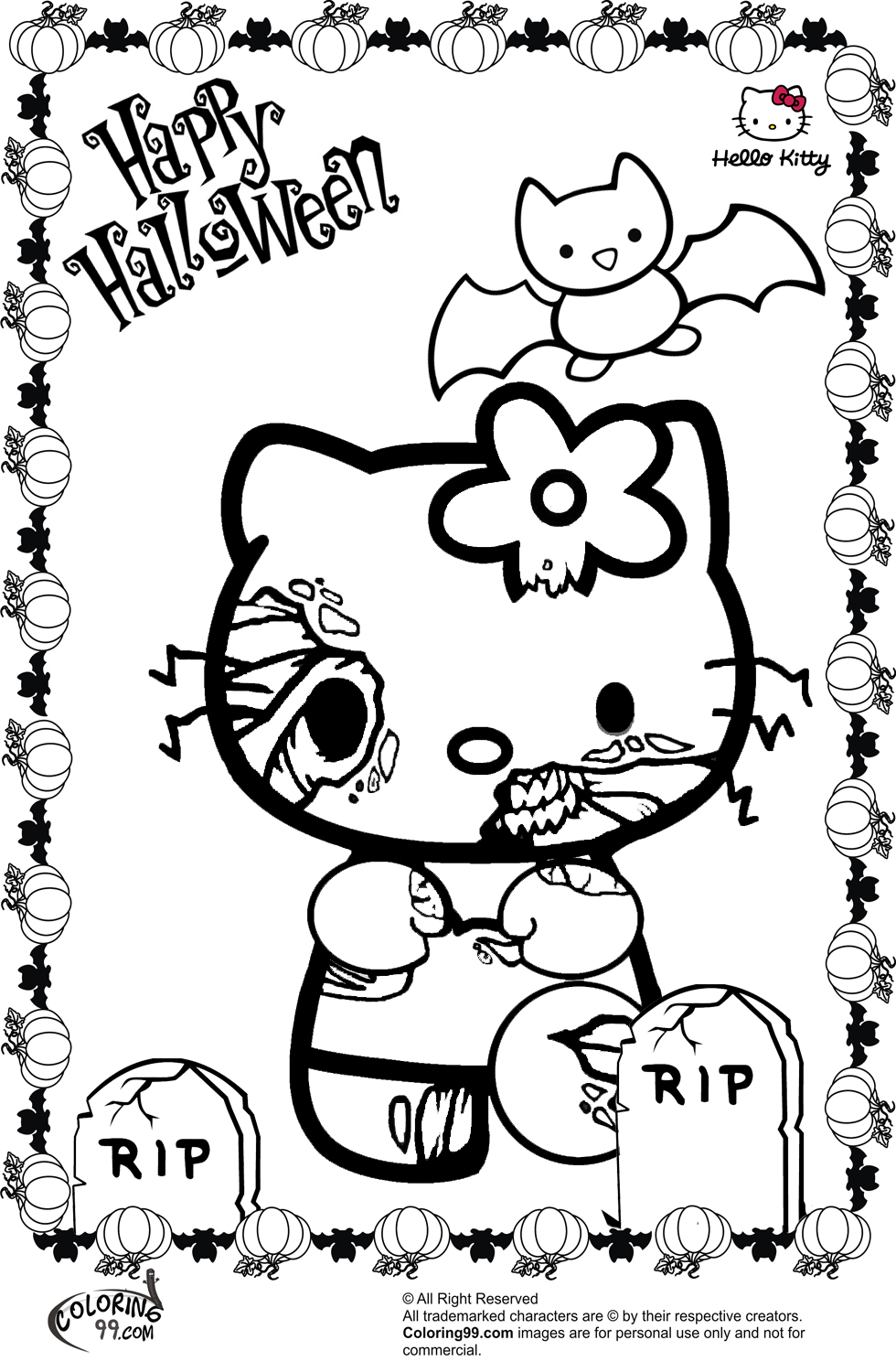 Hello Kitty Zombie Coloring Pages : Hello kitty halloween coloring pages minister