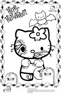 hello kitty halloween zombie coloring pages