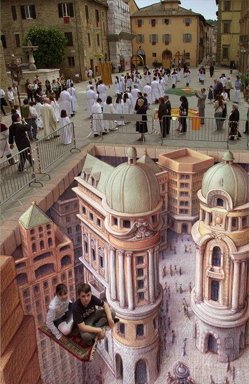Street Art Kurt Wenner ilusiones ópticas perspectivas