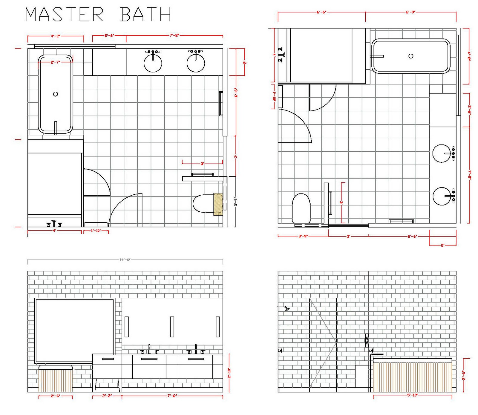 Bathroom drawing for kids - Here We Have Done Cad Renderings For A Master Bathroom And Kids Bathrooms In A Long Island Home Recently Reconstructed By Betty Wasserman Art Interiors