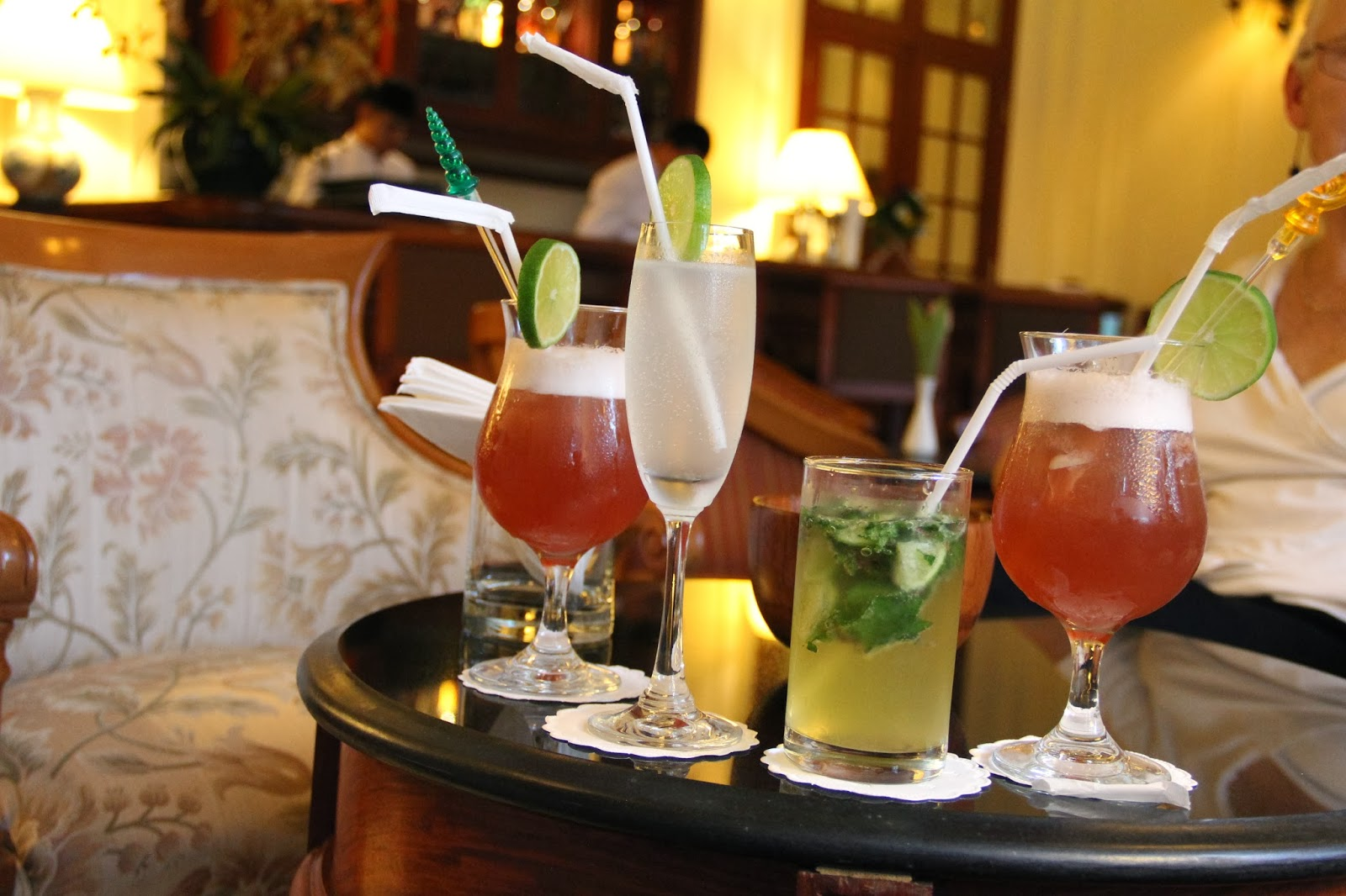 Singapore Slings and Mojito at La Belle Epoque bar at the Stteha Palace Hotel in Vientiane, Laos