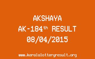 AKSHAYA AK 184 Lottery Result 8-4-2015