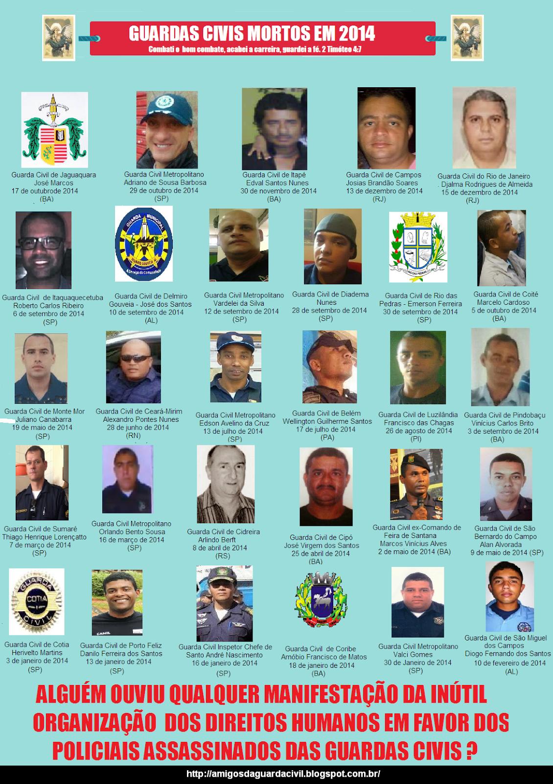 Lembre-se dos Guardas Civis que tombaram em 2014 vítimas da violência que consome nosso país !