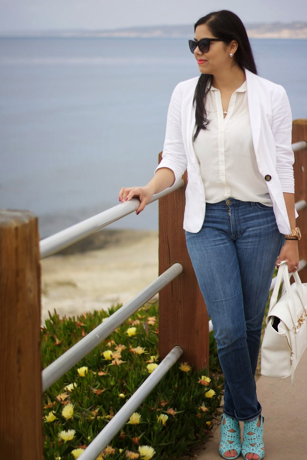 white top and jeans with statement shoes