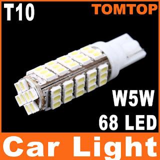 T10 W5W 68 SMD LED 1206 Car Side Wedge Light Lamp Bulb 194 927 161 168 White