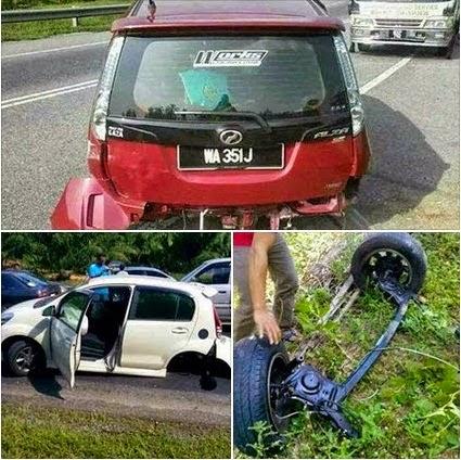 Gambar Gandar Kereta Perodua Tercabut